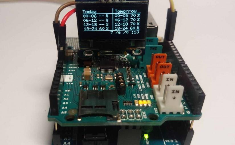 Webから取得した降水確率をI2C極小OLEDに表示してみました(Arduino)