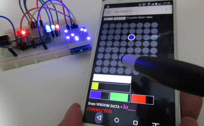 I2C LEDドットマトリックスの WebSocket スマホ ジャイロ コントロールを解説