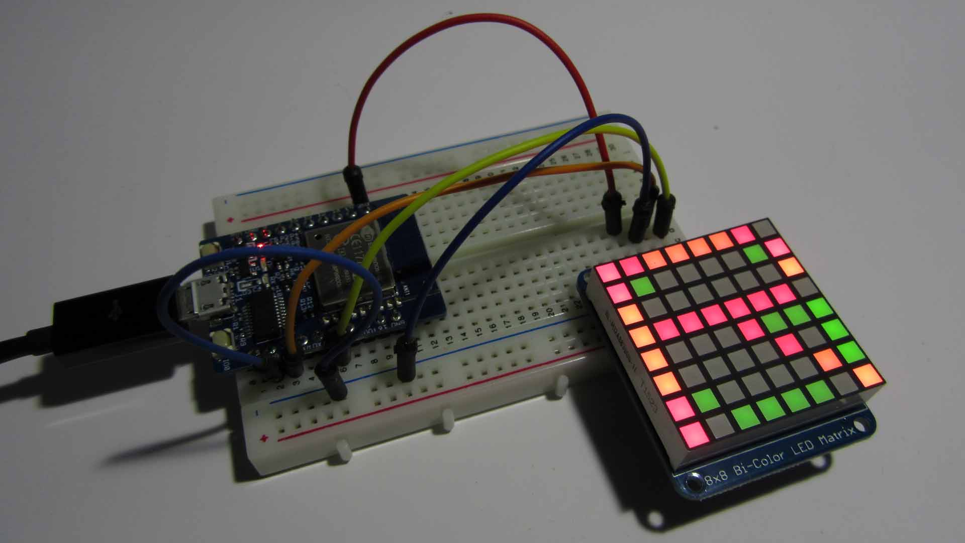 Adafruit Bicolor LED Matrix with I2C Backpack を試してみました