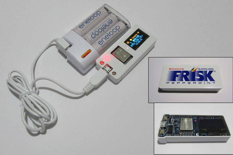 FRISKケースにESP-WROOM-02開発ボードとOLED( SSD1306 )を入れてみた( Webニュースミニ電光掲示板 )