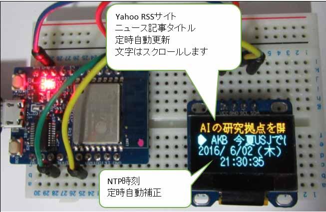 Web News記事自動取得 OLED ( 有機EL )ミニ電光掲示板に16×16フリー日本語フォント( 東雲 ) を使う