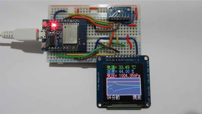 温度・湿度・気圧のロガー的な簡易グラフ表示を作ってみた。 BME280, OLED ( SSD1351 ), ESPr Developer使用