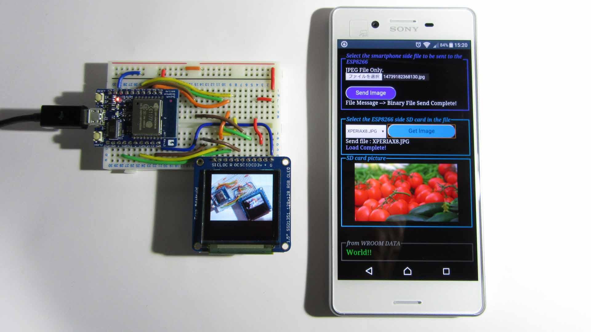 スマホのJPEG写真や画像をWi-Fiで飛ばして OLED ( 有機EL )に表示させてみた。ESP-WROOM-02 ( ESP8266 )使用