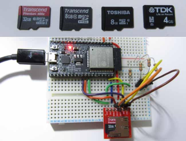 ESP32 ( ESP-WROOM-32 ) で micro SDHC メモリカードを使う場合の注意点