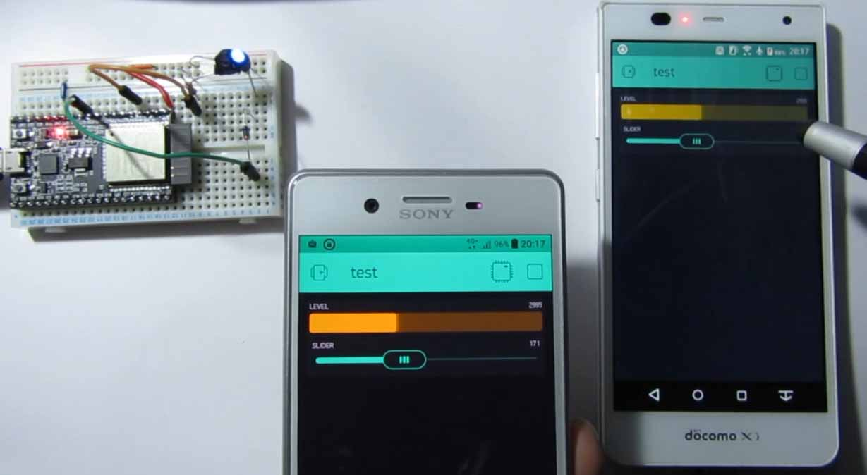 Blynk アプリで 遠方から スマホ とESP32 の双方向リアルタイム同時通信