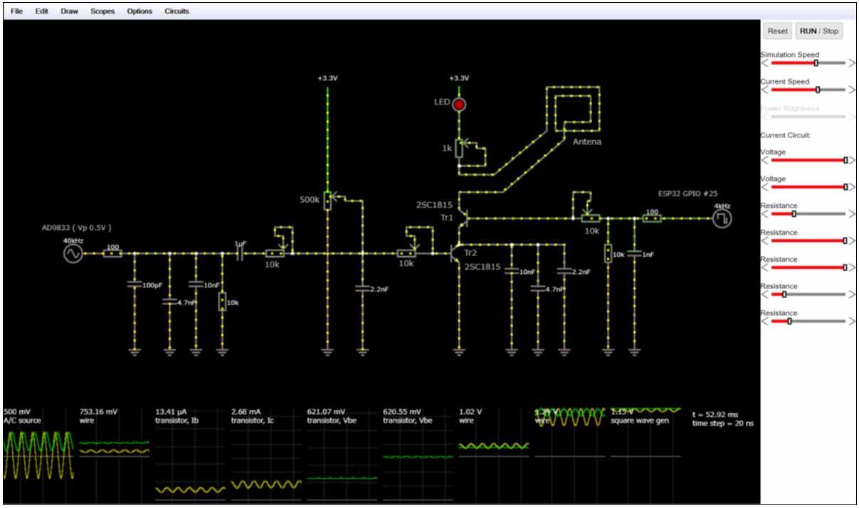 電流の流れがリアルタイムで分かるWebベースの 回路シミュレーター Circuit Simulator Applet 使用方法