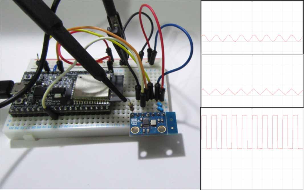 ESP32 で波形信号発生モジュール AD9833 を制御して サイン波 を発生させてみる