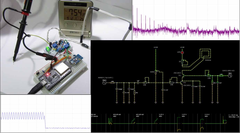波形発生器( AD9833 ) と ESP32 でサイン波を発生させ、電波時計を合わせる実験