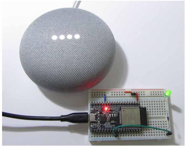 Google Home Mini を使って、声で ESP32 の LED を光らせてみた