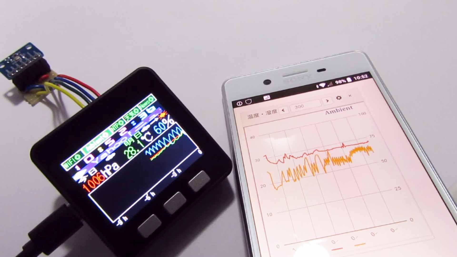 M5Stack に BME280 のグラフと、ニュース、天気予報を表示させ、Ambient へデータ送信させてみた
