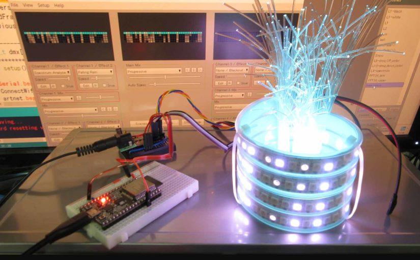 ESP32 と NeoPixel フルカラー LED テープで Wi-Fi 卓上イルミネーション