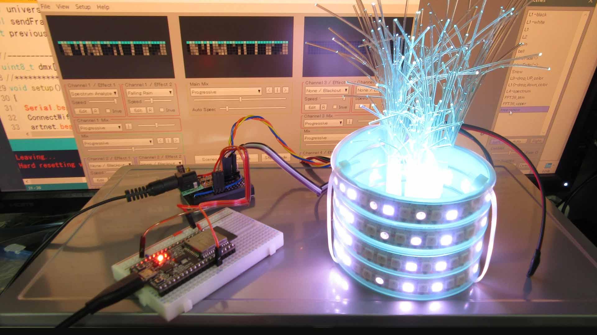 ESP32 と NeoPixel フルカラー LED テープで Wi-Fi 卓上イルミネーションオブジェを作ってみた