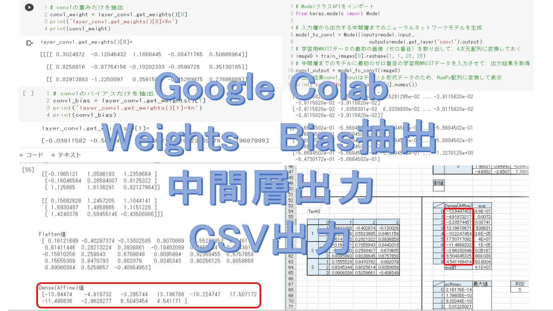 ディープラーニングのお勉強~その10。Google Colabでモデルの重みとバイアスをCSV出力する実験~