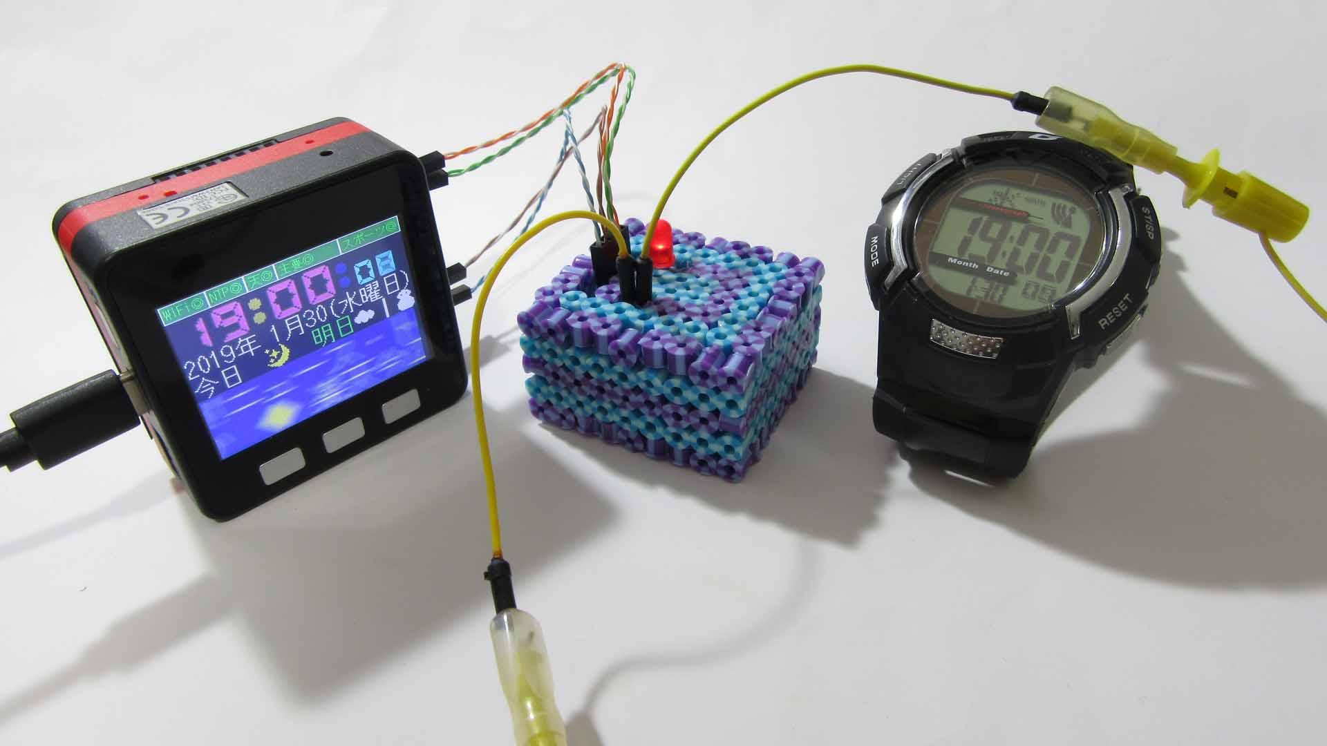 M5Stack Yahooニュース・天気予報・時計に、電波時計  JJY 発信モジュールを追加して、マルチタスクで動かしてみた
