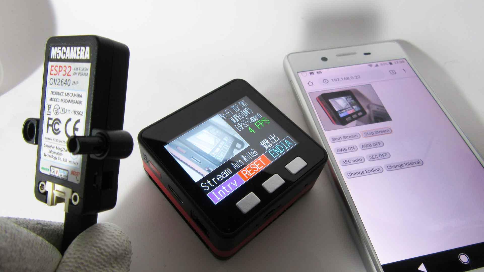 M5StackとM5Camera でWiFi TCP/IP 動画ストリーミングする実験